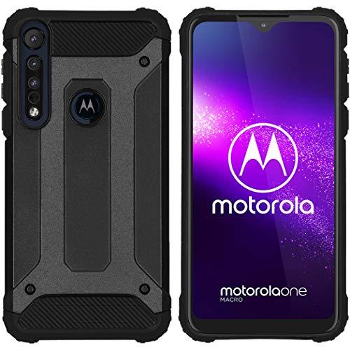 iMoshion kompatibel mit Motorola One Macro Hülle – Rugged Xtreme Back Cover Schutzhülle – Hard Hülle Handyhülle in Schwarz [Stoßabsorbierend, Dual-Layer Design]