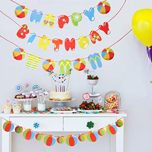 Beach Ball Happy Birthday Banner Pool Ball Garland Party Hanging Decor Summer Party Supplies for Pool Beach Party Barbecue