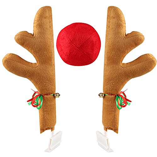 Coogam Christmas Reindeer Antler and Nose Vehicle Costume - Rudolf Red Nose Elk Moose Holiday Xmas Decoration for Car Truck (17')