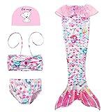 D C.Supernice Colas de Sirena para Nadar Precioso Vívido Impreso Disfraz Sirenita Trajes Bikini y Corona de Flores o Gorro Natacion