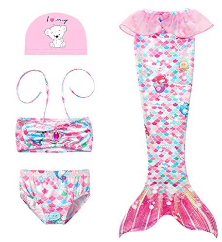 D C.Supernice Costume Sirena Bambina Ragazze Coda da Sirena per Nuotare Costumi da Bagno Bikini e Coroncina di Fiori O Cuffia Piscina
