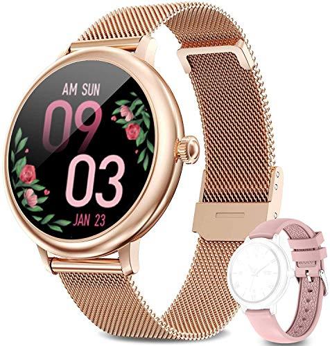 Smartwatch,Pantalla De 1.09' Relojes Inteligentes Impermeable IP67 para Mujer, Reloj De Fitness con Monitor De Frecuencia Cardíaca/Sueño/Calorías/Pasos, para iOS Android