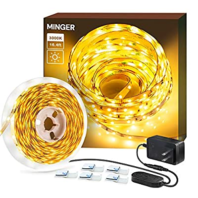 Dimmable LED Strip Lights, MINGER 3000K Warm White 16.4ft Flexible LED Light Strip for Room Under Cabinet Christmas Lighting, 300 LEDs Tape Light with ETL Listed Power Supply
