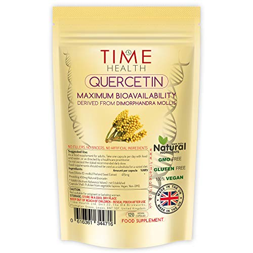 Quercetin - Powerful Antioxidant - Maximum Bioavailability - UK Made - Zero Additives - Vegan - Pullulan (120 capsule pouch)