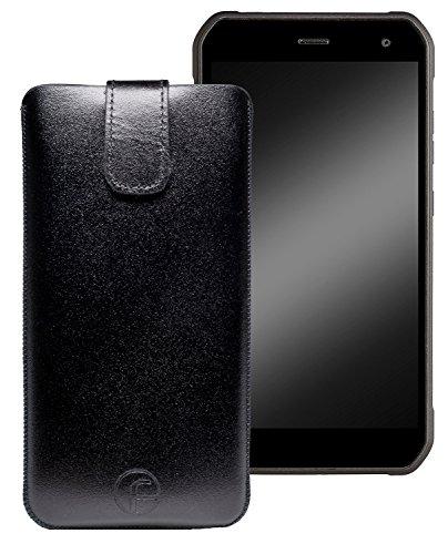 Favory Original Etui Tasche für Cyrus CS24 Leder Etui Handytasche Ledertasche Schutzhülle Hülle Hülle Lasche mit Rückzugfunktion* in Schwarz