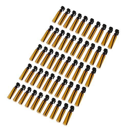 Milageto Juego de 50 Frascos de Tubo de Botella de Almacenamiento Vacíos para Aceites Esenciales Perfume Glitter
