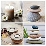 TIENDA EURASIA® Pack 4 Cuadros de Decoración - Lienzo Foto impresión 30 x 30 x 1,50 cm - Diseños Zen (A - 800873)