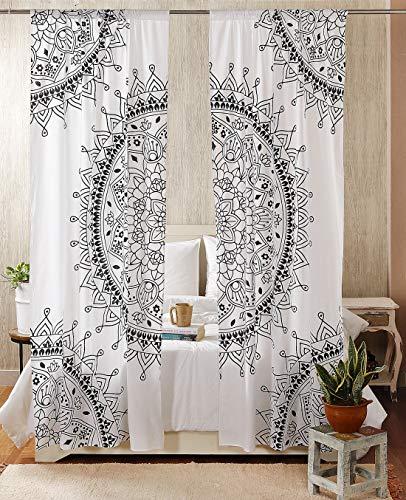 "Madhu International Mandala Gypsy Window Treatments 2 Panel Set Bohemian Curtain Room Divider Blackout Balcony Sheer Wall Hanging Tapestry Curtain Indian Drapes Curtain, 87"" x41, White"
