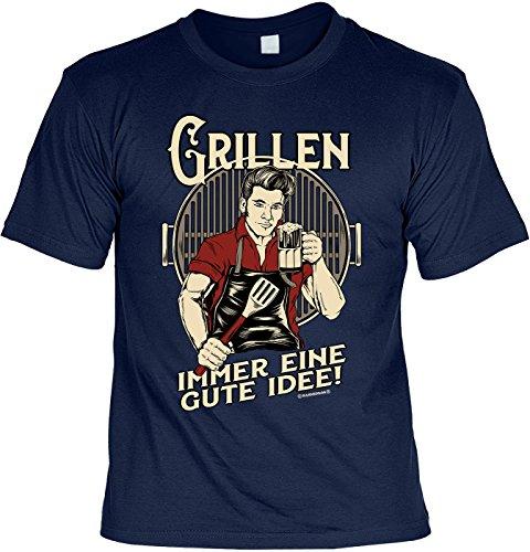 Grill T-Shirt für Männer - Grillen - Immer eine Gute Idee - Herren Shirts blau lustiges Geschenk-Set Bedruckt mit Grillmeister-Urkunde
