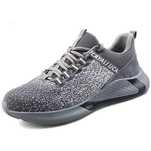 UCAYALI Calzado de Seguridad Zapatillas Hombre Zapato de Trabajo de protección Deportivas Gris/Negro 43 ⭐