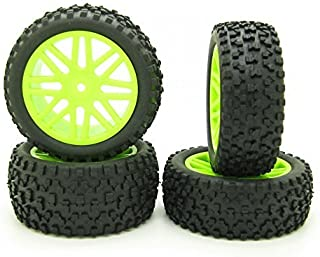 2PCS Front and 2PCS Rear Green Wheel Rim Rubber Tires for HSP 1:10 RC Off-Road Buggy