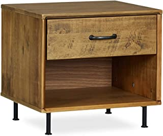 MUSEHOMEINC Rustic Solid Wood Nightstand with Drawer and Shelf for Bedroom Mid-Century Modern Style/Metal Leg Design/End Table/Side Table, Teak Finish