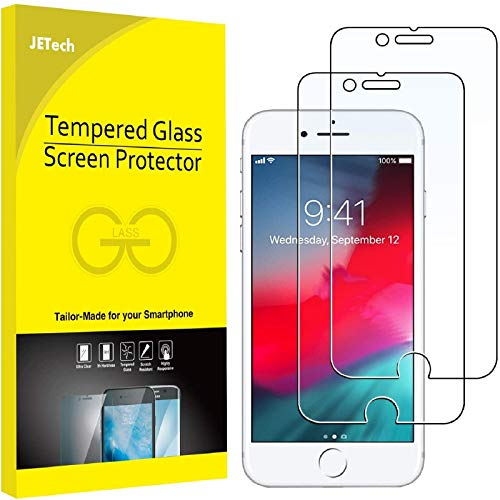 JETech Screen Protector for Apple iPhone 8 and iPhone 7, 4.7-Inch, Case Friendly, Tempered Glass Film, 2-Pack