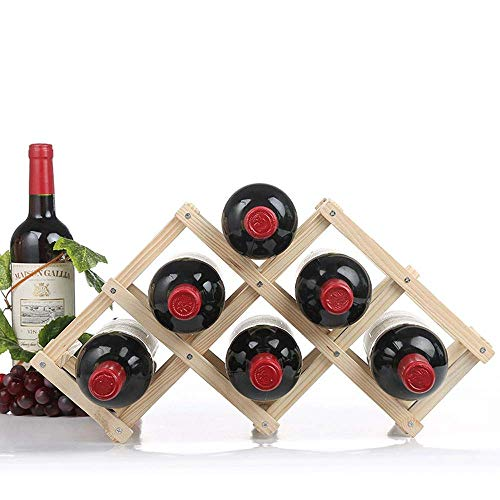 N/Z Home Equipment Wine Rack Wine Rack Freestanding for Table Bar Modern Minimalist Design Easy Assembly Stackable Storage Wine Rack (Color : Wood Size : 6 Bottles)