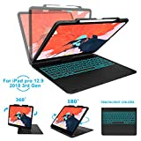 iPad Keyboard Case Compatible with iPad 9.7 inch 2018/2017 -KVAGO F8S Hard Shell Case with 7 Colors Back-lit Wireless Keyboard for iPad 6th Gen,5th Gen -Rose Gold