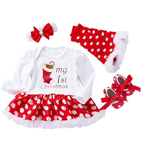 K-youth Niñas Bebés Mi Primera Navidad Vestidos Navidad Ropa Bebe Niña Monos Navidad Bebé Peleles Ropa Bebé Recién Nacido Niña 0 a 18 Meses (Blanco2, 3-6 Meses)
