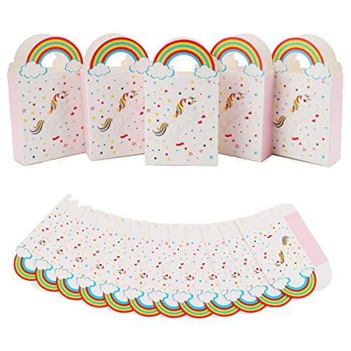 Herefun 50 Stück Papiertüten Regenbogen Einhorn Geschenktüte Unicorn Partytüten mit Griffen, Klein Geschenktüten Papier Taschen Candy Tüten Papiertasch für Party Kindergeburtstag Hochzeit Geschenk