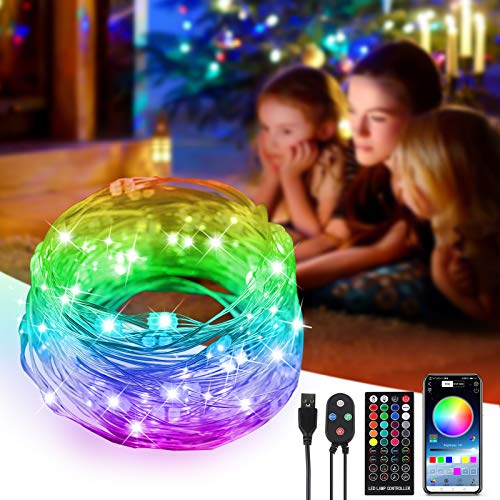 Beilf 33ft Bluetooth Smart Fairy Lights App Controlled, Plug in USB Powered, Music Beat Sync Color Changing LED Christmas Tree Lights with 40-Key Remote, Multicolored 100LEDs, 29 Modes,1 Pack