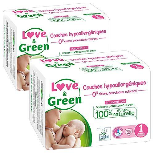 Pannolini bebè ipoallergenici 0%, taglia 1, 2 confezioni da 23 pannolini (46 totali)