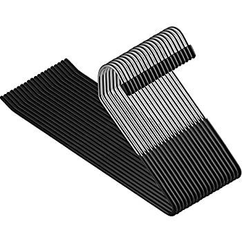 ZOBER Slack/Trousers Pants Hangers - 20 Pack - Strong and Durable Anti-Rust Chrome Metal Hangers Non Slip Rubber Coating Slim & Space Saving Open Ended Design for Easy-Slide Pant Jeans Slacks Etc