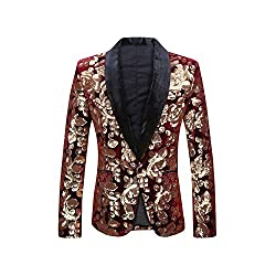 Wine Red Lapel Blazer Design Velvet Gold Flowers Sequins