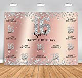 Sensfun Rose Gold Sweet 16 Birthday Backdrop Girls Sweet Sixteen Diamond Shining Birthday Theme Party Banner Decorations Pink Silver Sixteen Princess Photo Background Portrait Booth Props (7x5ft)