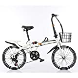 KXDLR 6-Vitesse Variable Vitesse Vélo Pliant Vélo Adulte Lumière Portable Maj 20' Vélo Pliable, Montagne Voyage Vélo,Blanc