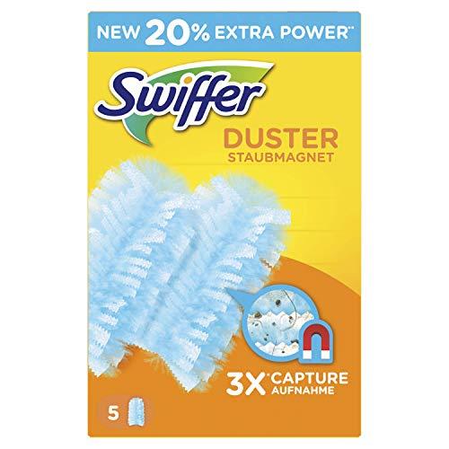 Swiffer Plumero Atrapapolvo 5 recambios, atrapa y retiene hasta 3 veces más el polvo y el pelo que un plumero de plumas convencional