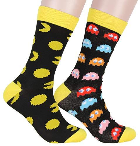Adults Pac-Man Character Crew Socks, 2 Pack