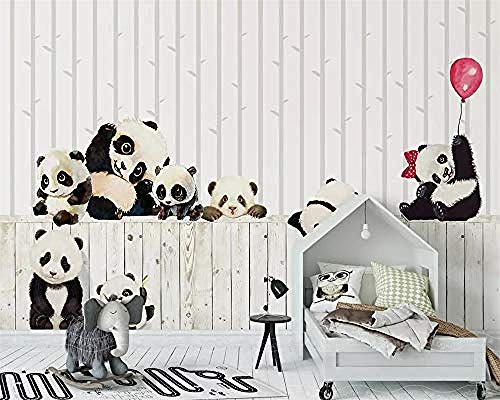 XHXI Wallpaper Nordic Black and White Cartoon Panda Children Room Background Wall Living Room Bedroom 3D Wallpaper for T 3D Wallpaper Paste Living Room The Wall for Bedroom Mural border-300cm×210cm