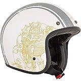GZM Casco Jet AFX FX-76 Raceway blanco mate Flat White homologado ECE DOT Moto Biker Vintage Talla 2XL