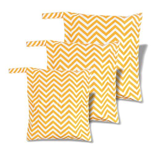 3 Stück Windeltasche Wetbag für Unterwegs, wiederverwendbar Baby Nasstaschen für Windeln, schmutzige Kleidung und anderes Zubehör - Groß & Mittel & klein (Gelb)