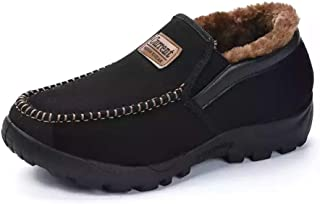 Asifn Men's Moccasins Slippers Slip,on Plush Loafers Warm Fur Lined Walking Driving Shoes Indoor Outdoor Short Boot Winter Snow Boots,Black,11.5 US,28.5 cm Heel to Toe