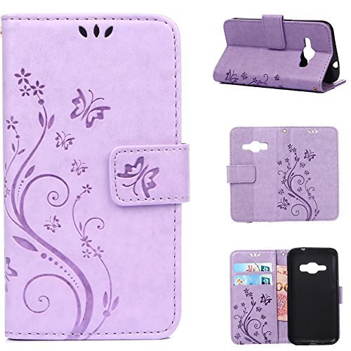 Harryshell J1 2016 Case, Galaxy Amp 2 Case, Galaxy Express 3 /Luna Case, (TM) Flower PU Wallet Leather Protective Case Cover with Card Slots for Samsung Galaxy J1 2016/ Amp 2/Express 3/Luna