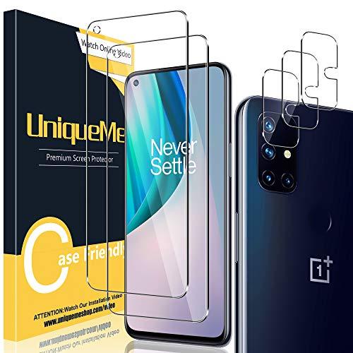 [2+3 Stück] UniqueMe Schutzfolie Kompatibel mit OnePlus Nord N10 Folie, Kamera Panzerglas Bildschirmschutzfolie OnePlus Nord N10 [9H Festigkeit] Gehärtetem Glas HD [Anti-Bläschen] Panzerglas.