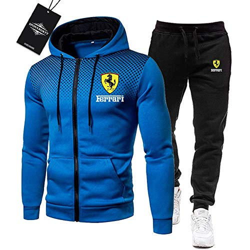 Blue-sky Uomini Tracksuit Impostato Jogging Completo da Uomo Fer.r-ari Cappuccio Zip Giacca +. Pantaloni Sport R Uomo/blue/L