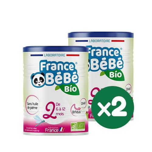 FRANCE BéBé BIO - Lait infantile de suite bébé 2ème âge en poudre - Lait fabriqué en France - OMEGA 3 - SANS HUILE DE PALME - Pack 2 boîtes de 400g