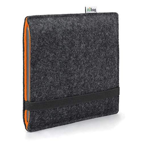 Stilbag e-Reader Hülle Finn für Kobo Libra - H2O | Wollfilz anthrazit/orange | Schutzhülle Made in Germany