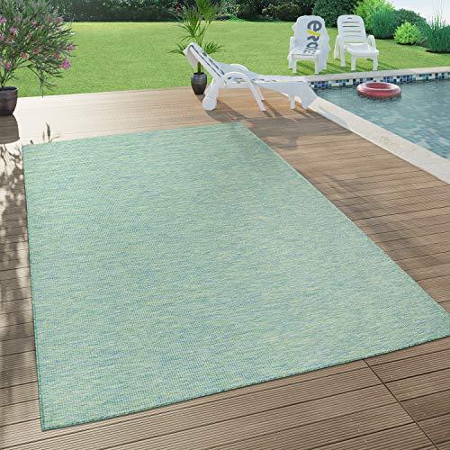 Paco Home In- & Outdoor-Teppich Für Wohnzimmer, Balkon, Terrasse, Flachgewebe In Türkis, Grösse:80x150 cm