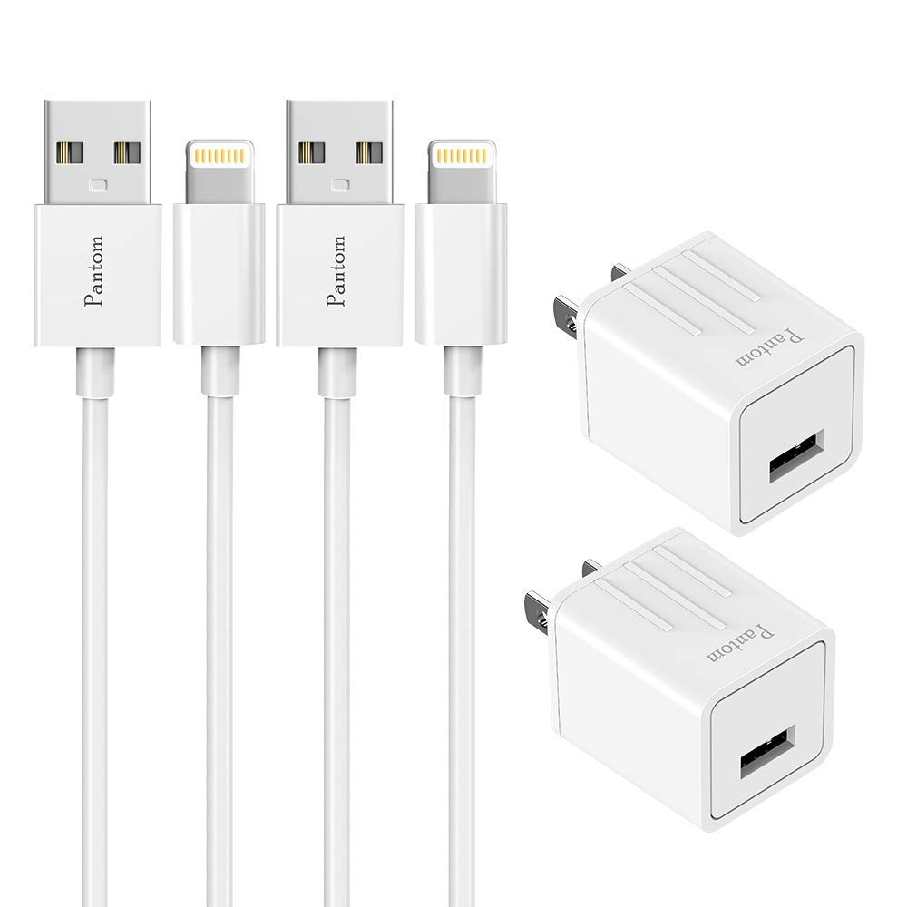 iPhone Chargers Pager 2-Pack Wall Charger Plugs with 2-Pack 5-Feet Cables Charge Sync Compatible with iPhone 11/11 ProXr/Xs/Xs Max/8/8 Plus/7/7 Plus/6s/6s Plus/5se/5c/5 and iPads (White)
