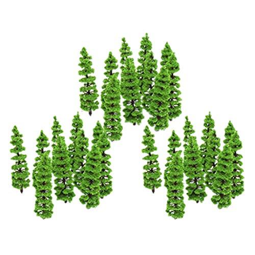 perfeclan 30x 1: 100-1: 150 Mini Paisaje De Plástico Abetos Modelo para La Decoración del Parque del Tren