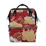 MIMUTI バックパック 日本の着物柄桜鶴 男女兼用 通学 通勤 旅行 スポーツ バッグ