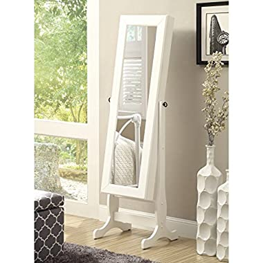 Coaster Casual Jewelry Armoire with Cheval Mirror, White