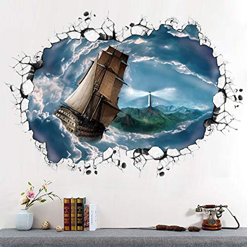 TAOYUE 3D View Sea Wallpapers Office Decoration PVC Wall Decals/Adhesive for Sofa Living Room Bedroom