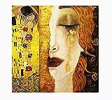 HGUT Cuadro sobre lienzo, diseño de lágrimas doradas y besos de Gustav Klimt, impresiones artísticas, arte escandinavo, para salón sin marco (90 x 90 cm)