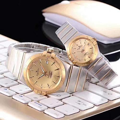HHBB Marca de lujo hombres y mujeres par reloj completo bisel oro dial automático mecánico acero inoxidable zafiro cristal Aaa+ mujeres tamaño