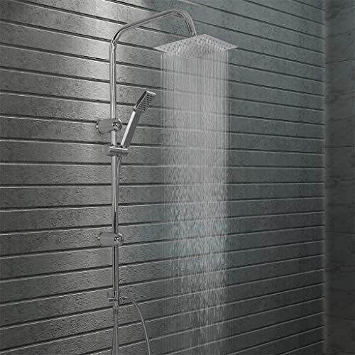 vidaXL Duschset Doppelkopf mit Handbrause Duschsystem Regendusche Duscharmatur Kopfbrause Duschstange Duschkopf Dusche Brausearmatur Edelstahl