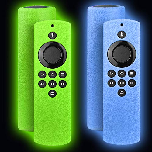 2 Pack TOLUOHU Case for Fire TV Stick Lite 2020 Alexa Voice Remote Cover Case,Glow in Dark Silicone Protect Case Cover for Fire Stick Lite Remote Skin Accessorie with Lanyard-Glow Green+Glow Blue