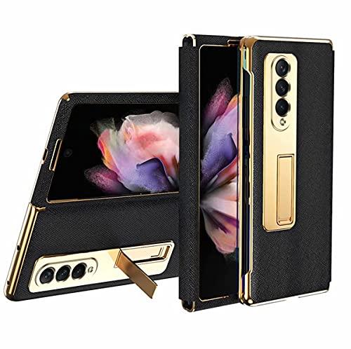 Wuzixi Funda para Samsung Galaxy Z Fold 3 5G, Enchapado Avanzado Ultrafino Plegable Carcasa, A Prueba de Choques, Soporte Invisible, Fundas Case para Samsung Galaxy Z Fold 3 5G.Negro