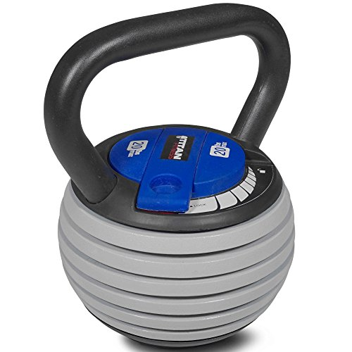 Titan Fitness 5-20 lb Adjustable Kettlebell Weight Lifting Swing Workout
